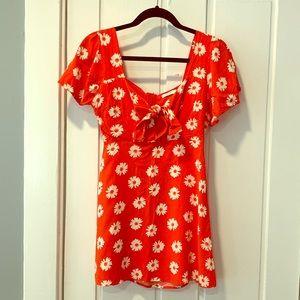 Lush red keyhole sweetheart neckline mini dress